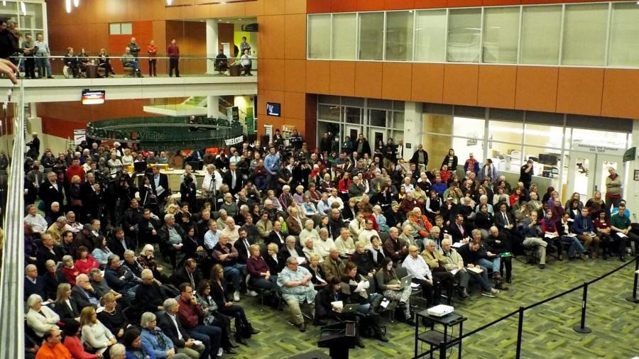 The crowd of district 502 citizens at the Board of Trustees meeting in the Student Life area of the College of DuPage on Jan. 28.