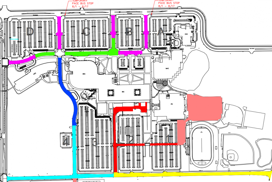 A map of repaving projects on campus for August 2014.