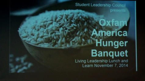 This is the cover for the Hunger Banquet at the College of DuPage on Nov. 7, 2014. In this event, the speakers talked about the margin between the wealthy and the poor, and how Americans can make a big impact in their lives.