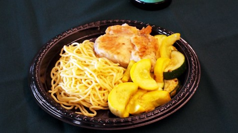 This is the meal that the Upper Class attendants were given at the Oxfam Hunger Banquet on Nov. 7, 2014. This meal included chicken breast, spaghetti and slices of squash.