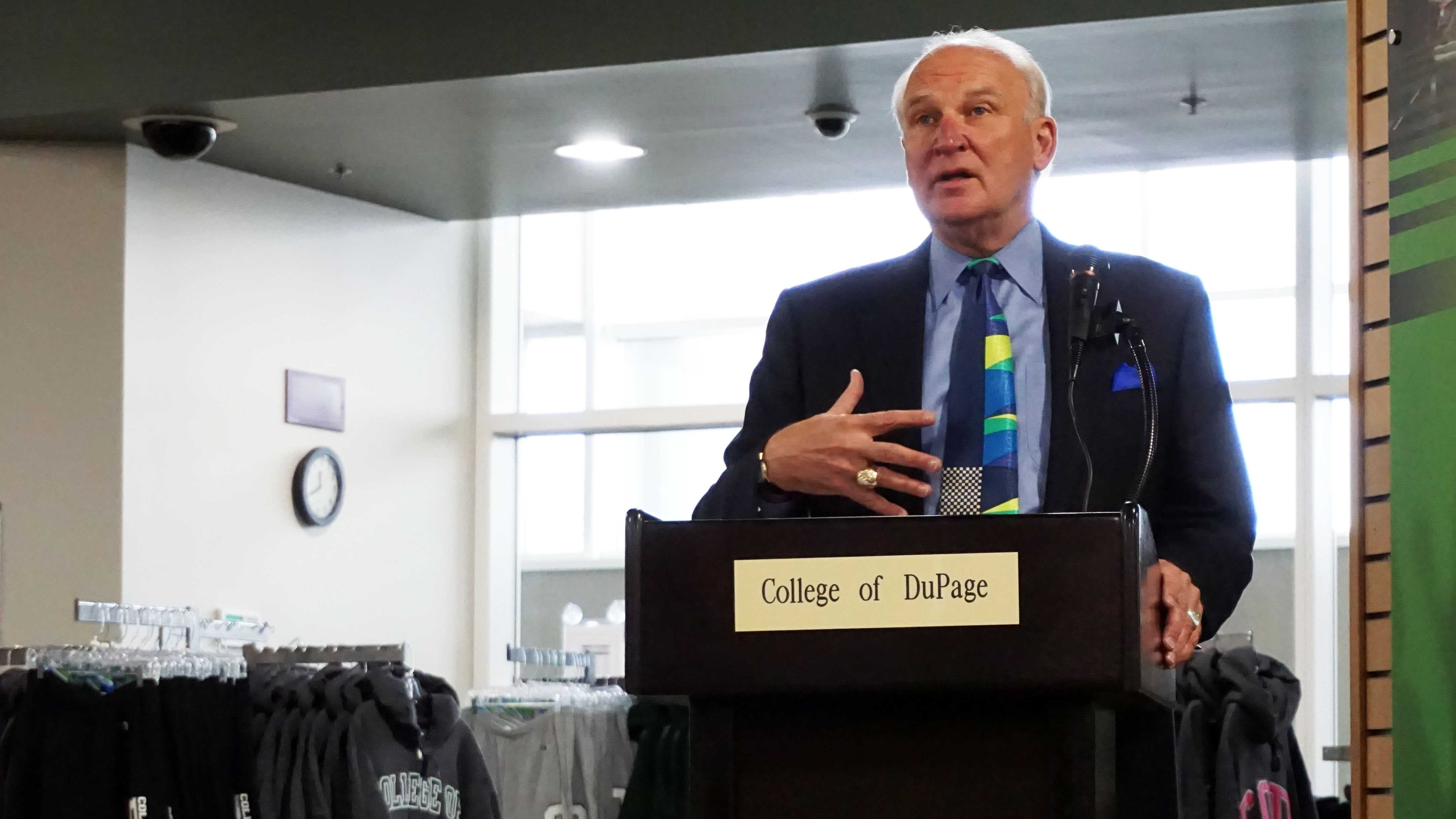 President Robert Breuder at a college event in March.