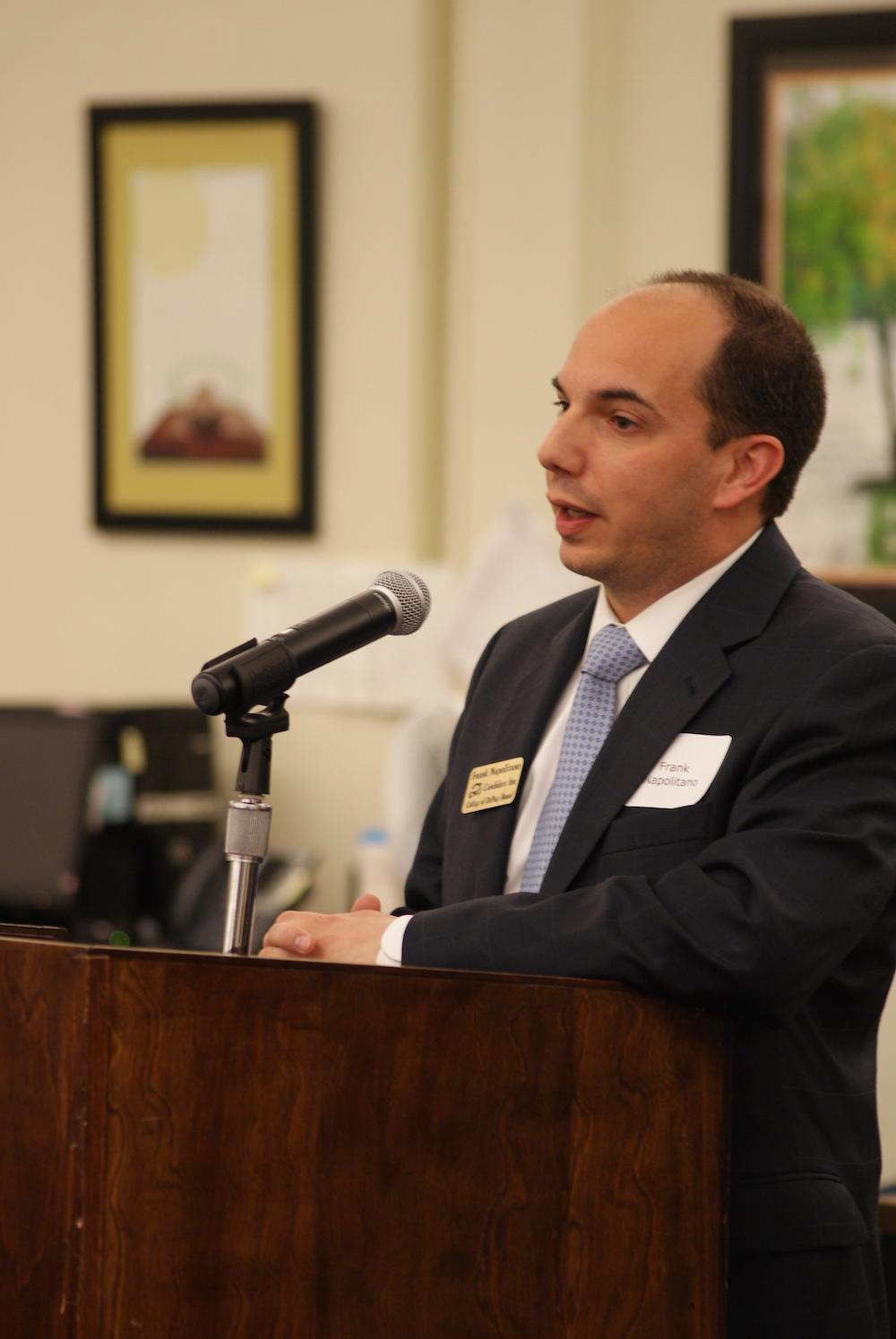 Board candidate Frank Napolitano at a March 24 forum.