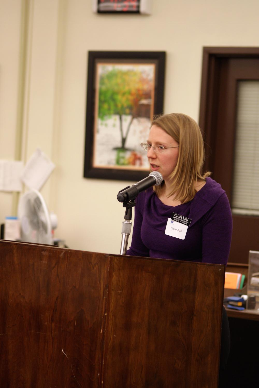 Board candidate Claire Ball at a March 24 forum.
