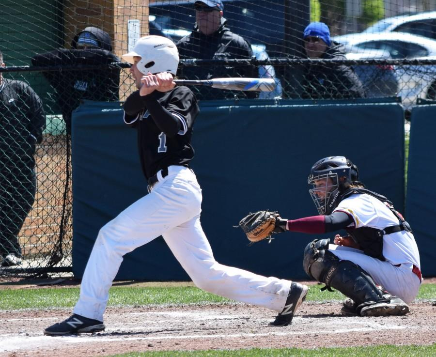 College of DuPage's shortstop, Brian Taheri, ripping a double down the line against Triton College in a 8-3 loss on April 25.