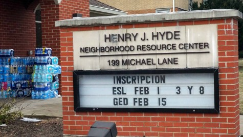 Henry J. Hyde Resource Center in Addison, Ill. sign during a donation event on Jan. 30.