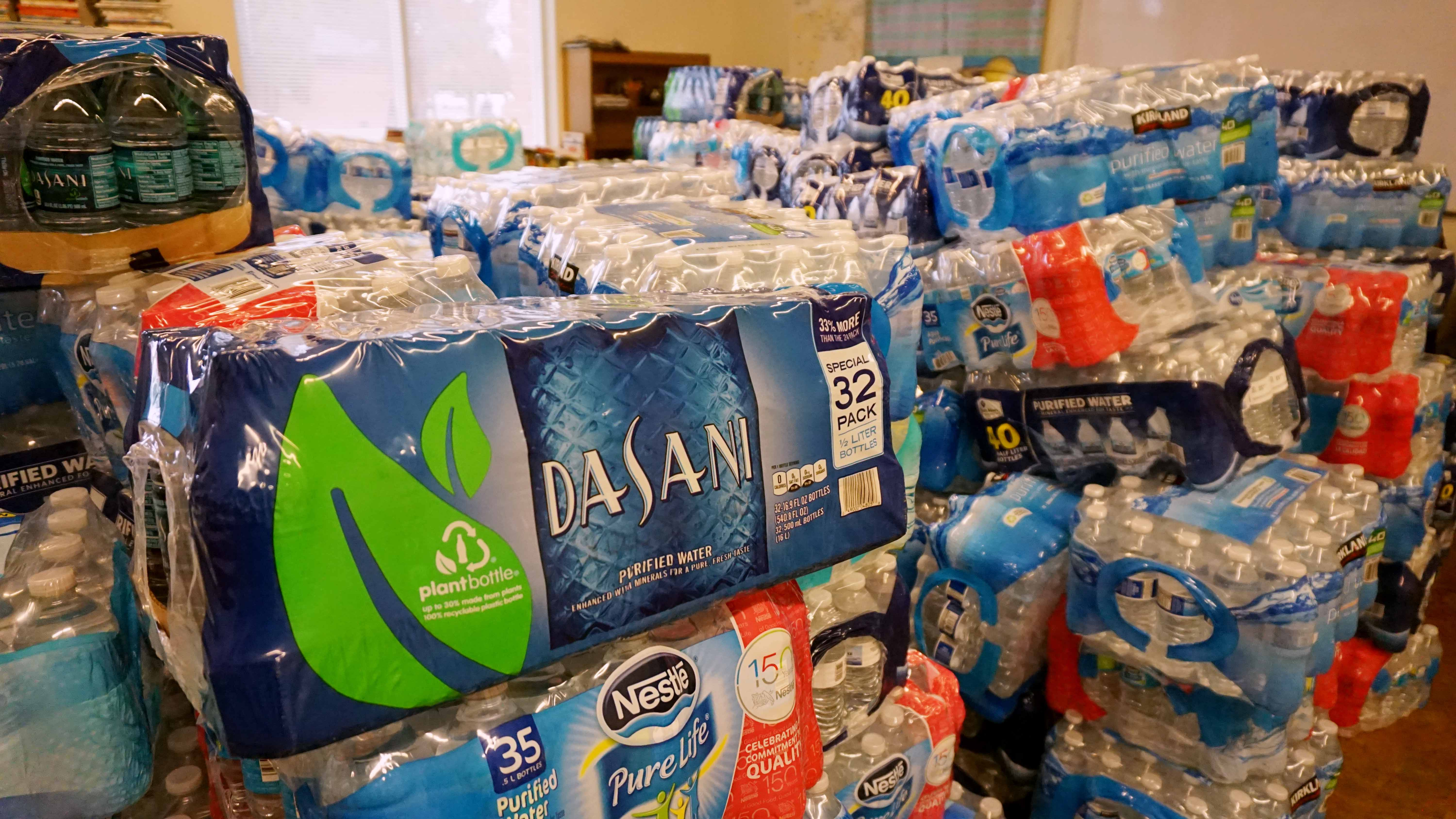 A pile of bottled water cases in a room inside the Henry J. Hyde Resource Center in Addison, Ill. on Jan. 30.