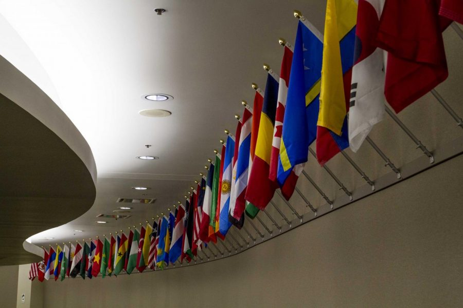 Flags hanging in the lower corridor of the SRC building