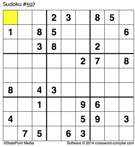 Friday free Sudoku for Nov. 17