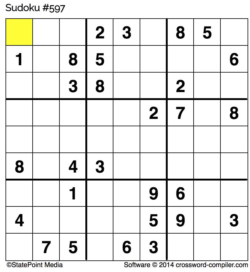 Friday free Sudoku for Nov. 17