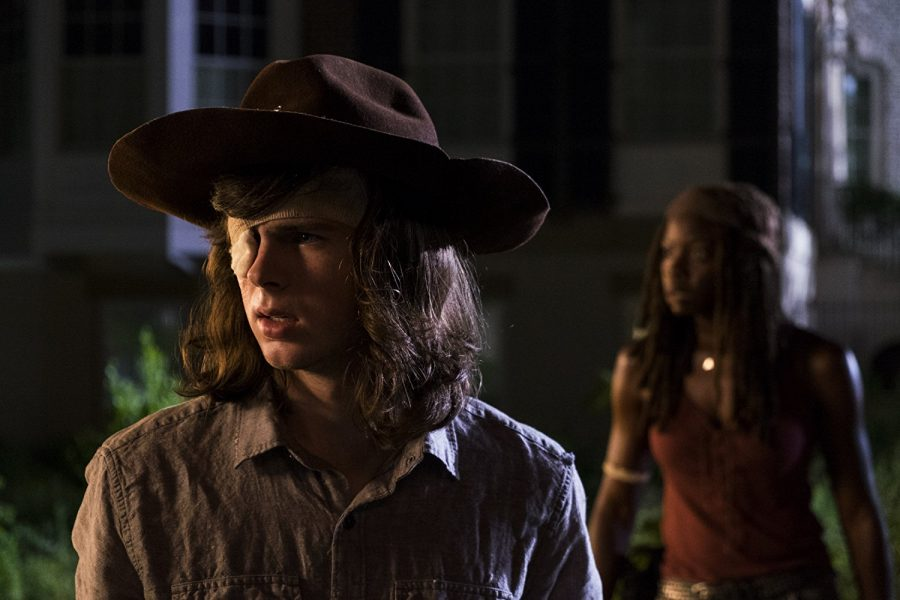 Chandler Riggs as Carl Grimes and Danai Gurira as Michonne. (Photo courtesy of Gene Page/AMC)