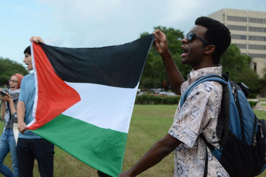 A pro-Palestine protest sparked by U.S. Ambassador to the UN Nikki Haley's stance on the Israeli-Palestinian conflict continued in the lawn in front of the Cullen Performance Hall for 20 minutes after participants were escorted from the address.