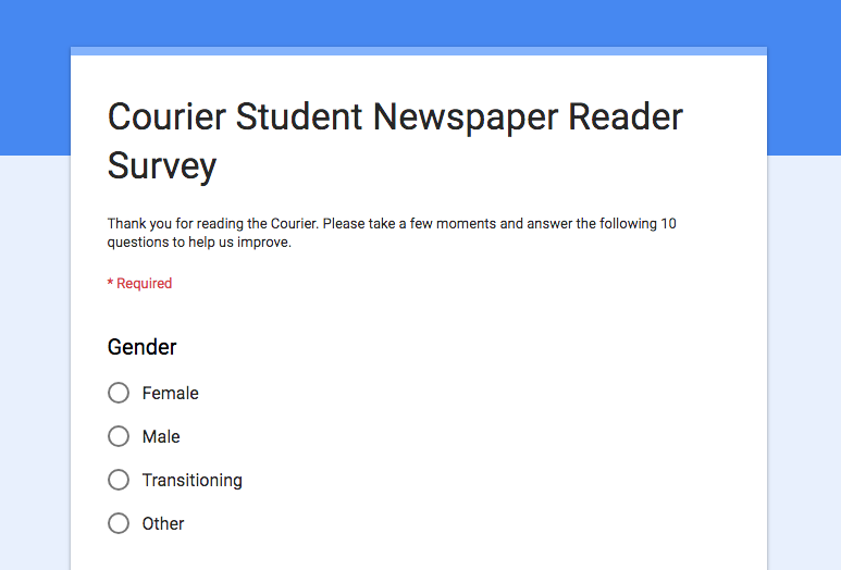 Help us improve by taking the Courier reader survey!
