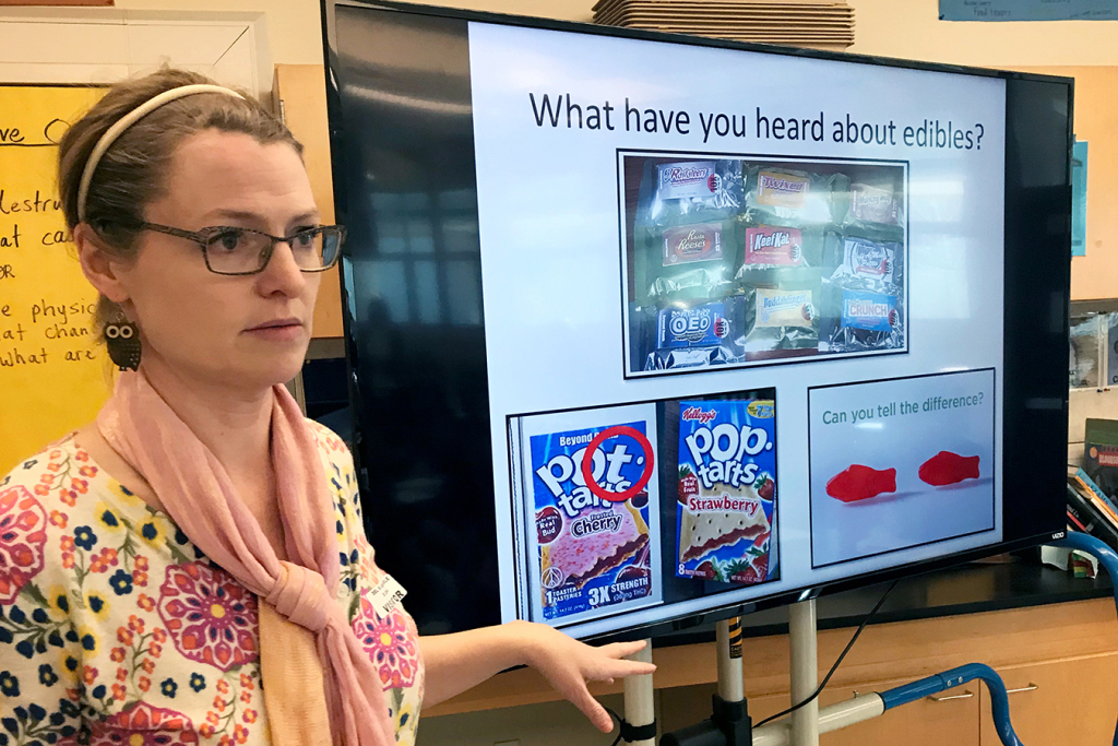 Dawn Charlton, an instructor with Being Adept, leads a discussion on marijuana for sixth-graders at Del Mar Middle School in Tiburon, California. (Carrie Feibel/KQED)