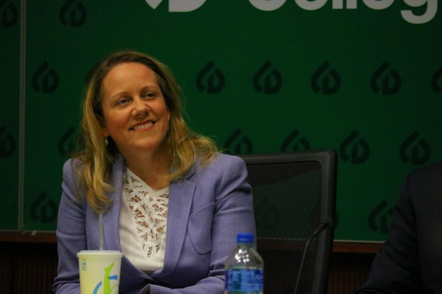 Deanne Mazzochi, COD's Board Chairman, at a Board of Trustees meeting in April 2018