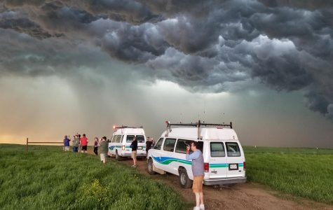 Photo by Evan Anderson: College of DuPage's storm chasing program pursuing super-cell formations, near Eagle Butte, South Dakota