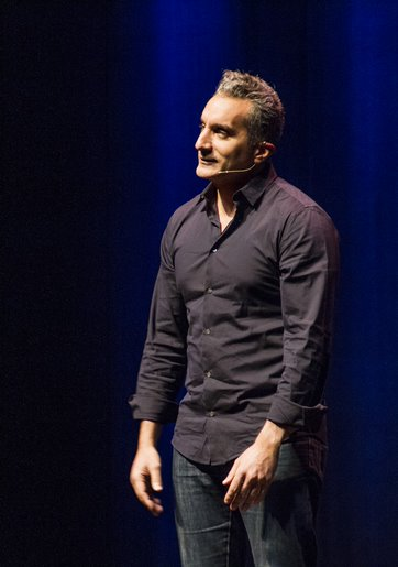 Bassem Youssef performs his political satire routine before a sold-out theater at College of DuPage on Oct. 19