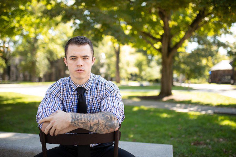 Princeton sophomore and Marines veteran Sam Fendlar at the Ivy League Veterans Council. 9/29/18 Photo by John OBoyle