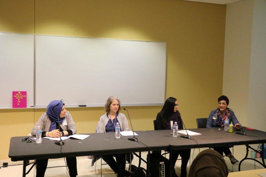 Panelists Amal Jarad, Kris Leonard, Hira Umer and Stephanie Quirk.