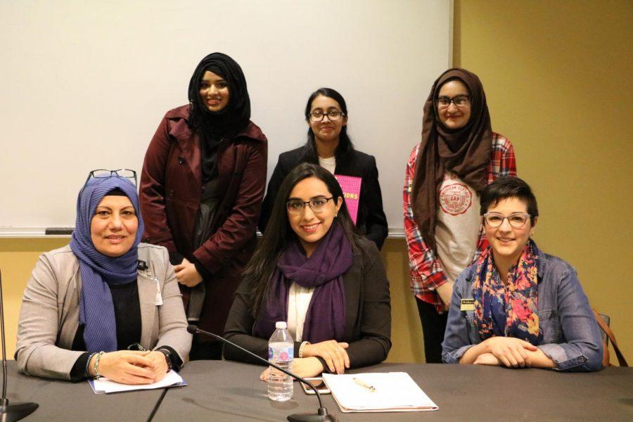 From Left to right Row 1: Amal Jarad, Hira Umer, Stephanie Quirk. Row 2: Safa Ali, Poonam Rahman, Amna Razi.
