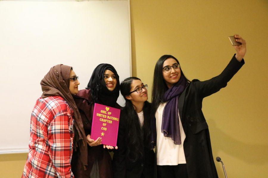 Amna Razi, Safa Ali and Poonam Rahman pose for a selfie with Hira Umer.