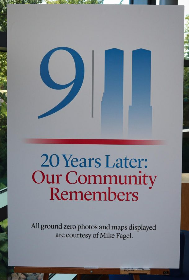 Signage promoting College of DuPages 9/11 20 Years Later: Our Community Remembers commemorative ceremony on Saturday, Sept. 11, 2021.