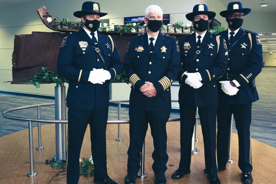 DuPage County Sheriff James Mendrick poses with fellow law enforcement members during College of DuPages ceremony commemorating the twentieth anniversary of 9/11 on Saturday, September 11, 2021.